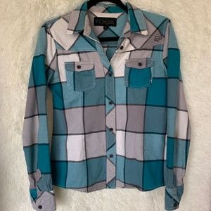 Fox Turquoise and White Women's Flannel Size S